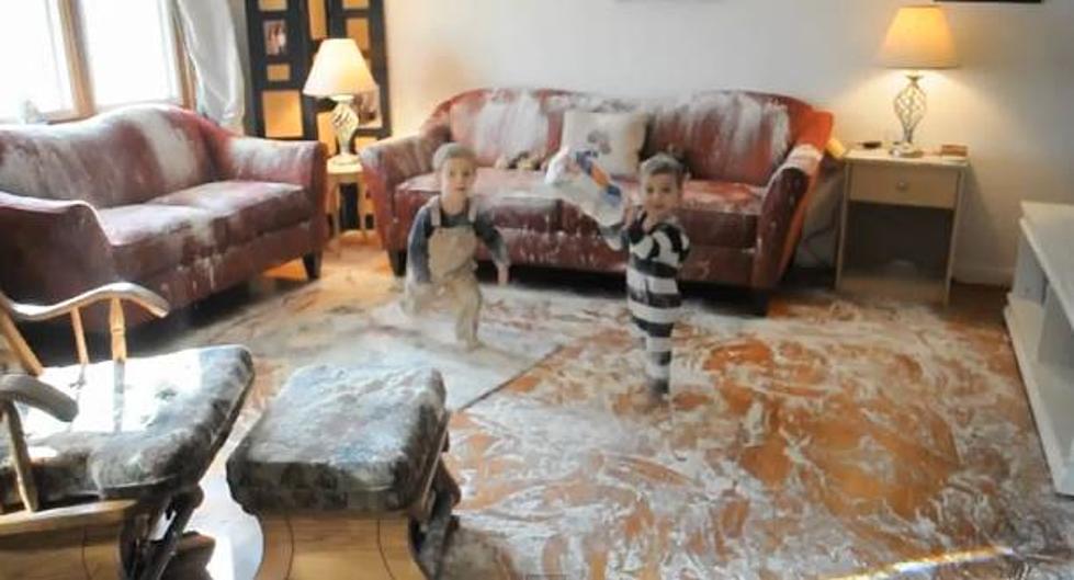 kids destroy home with flour