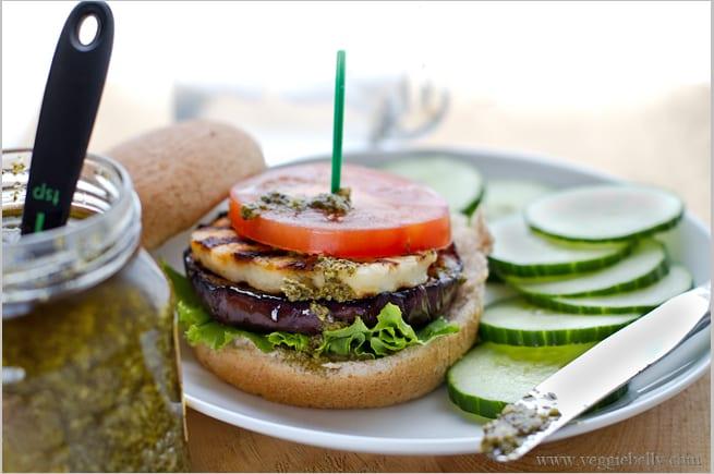 vegetarian grilling recipes-eggplant-halloumi-pesto-burgers