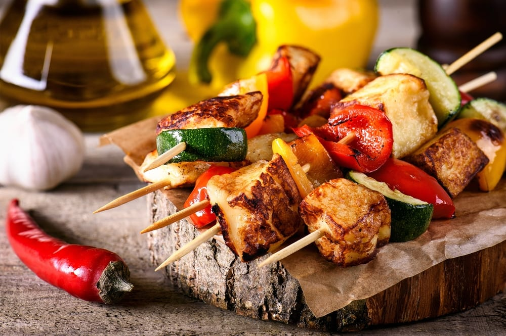 vegetarian grilling recipes - halloumi skewers