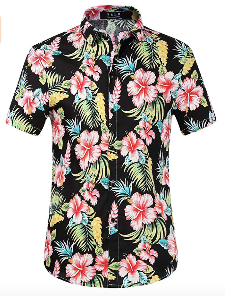 Hawaiian style mens floral shirt