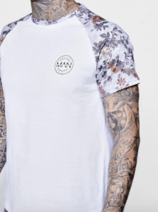 Raglan Mens Floral T-Shirt