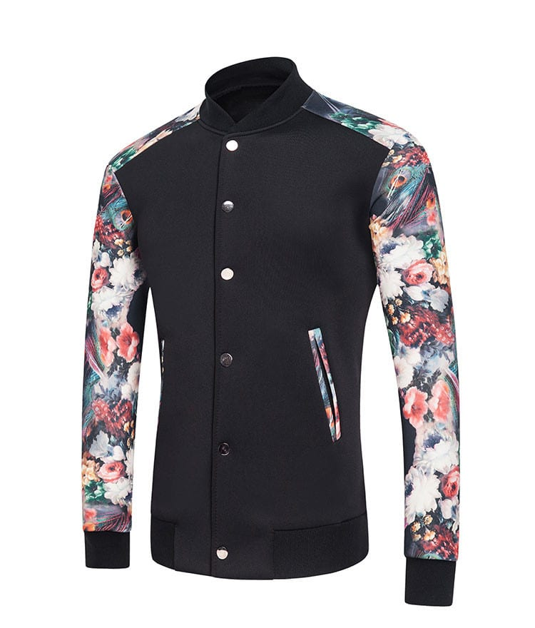 Rebels Market mens floral baseball jacket
