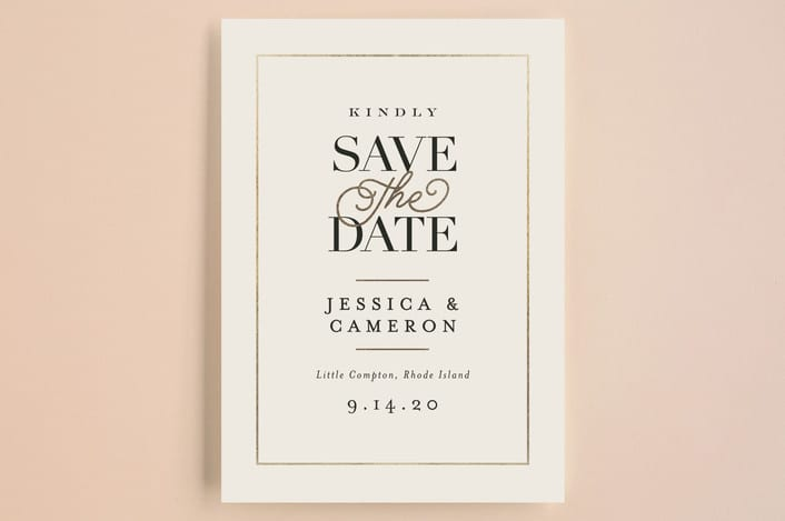 Wedding Save The Date Postcard Ivory Details