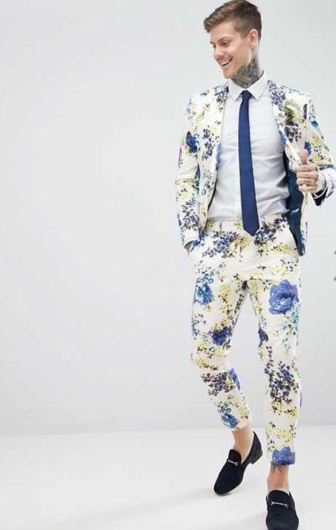Wedding suit in white mens floral design