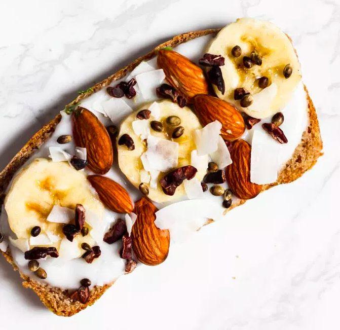 Best Vegan Toast Idea Banana Almond Toast