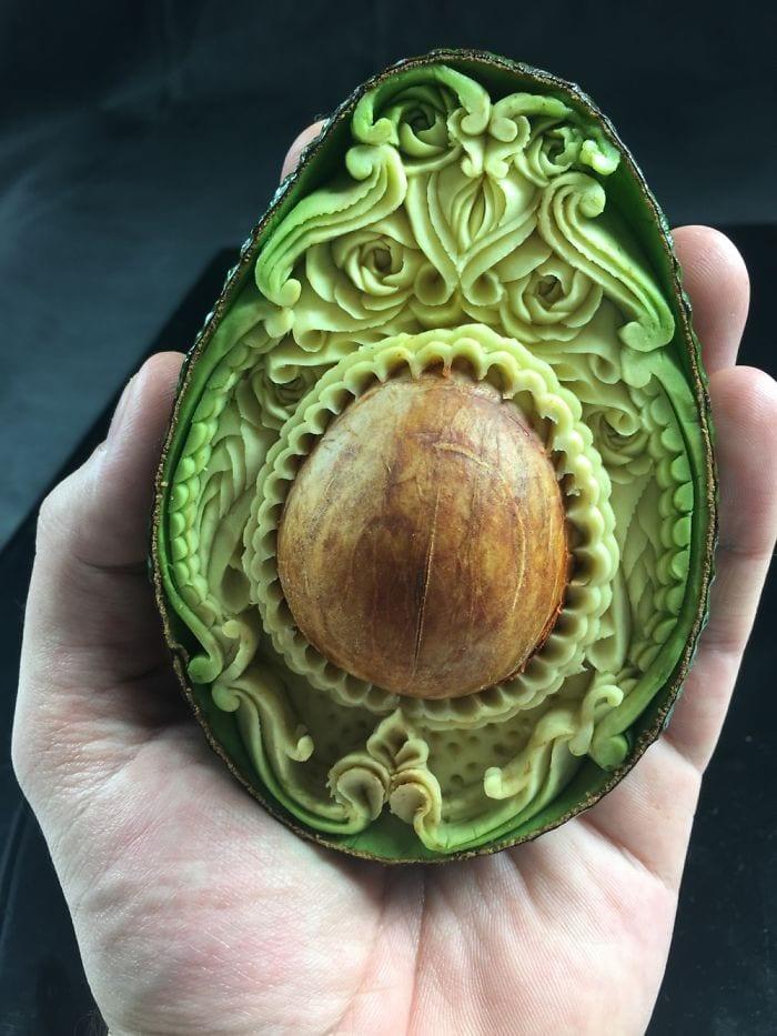beautiful fruit carving in an avocado