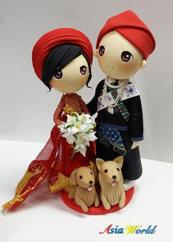 traditional wedding cake topper with dogs