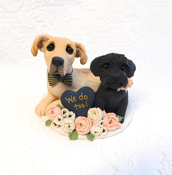 we do too wedding cake topper with dogs