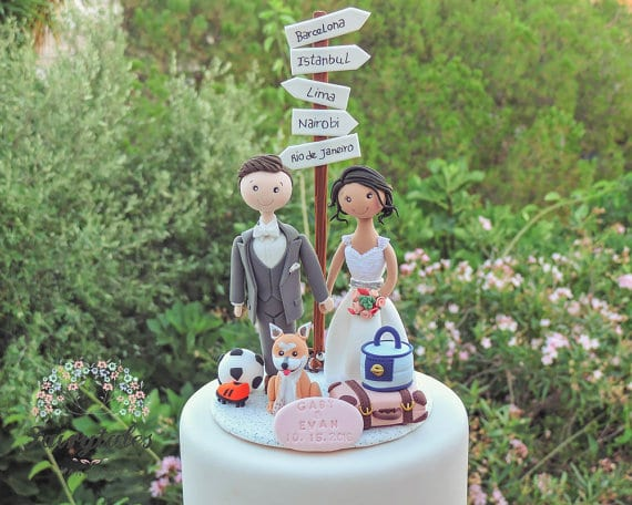 travel wedding cake topper with dog
