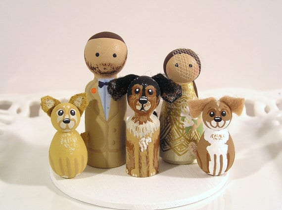 wedding cake topper with dogs cute