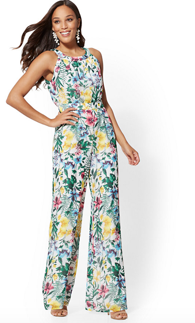 white floral halter top jumpsuit For Women