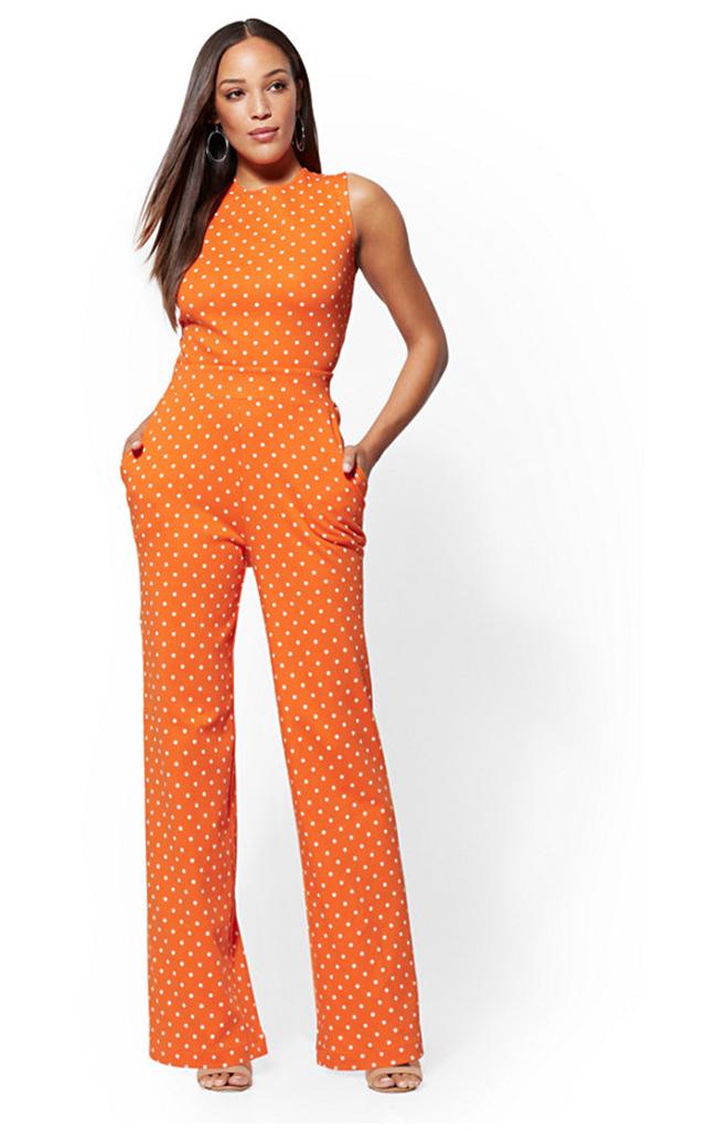 Polka Dot Orange Tie Back best Jumpsuits For Women