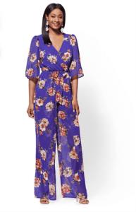 jumpsuits for woman - Purple Floral V Neck Wrap