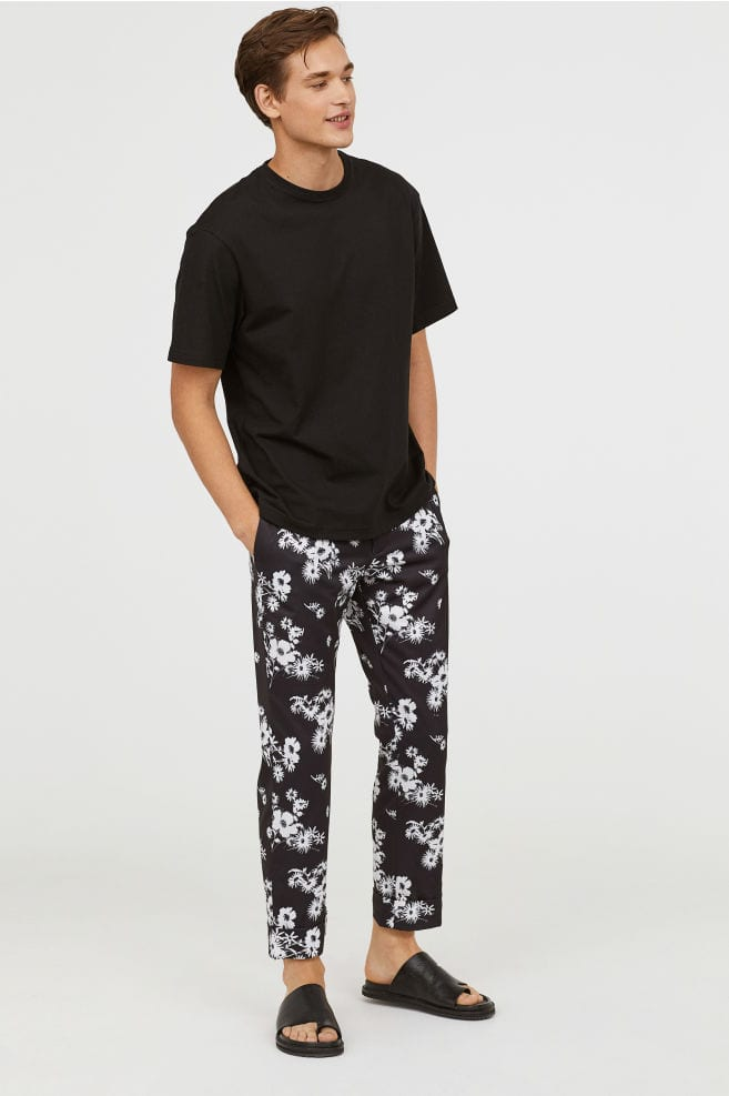 mens floral patterned suit pant for summer