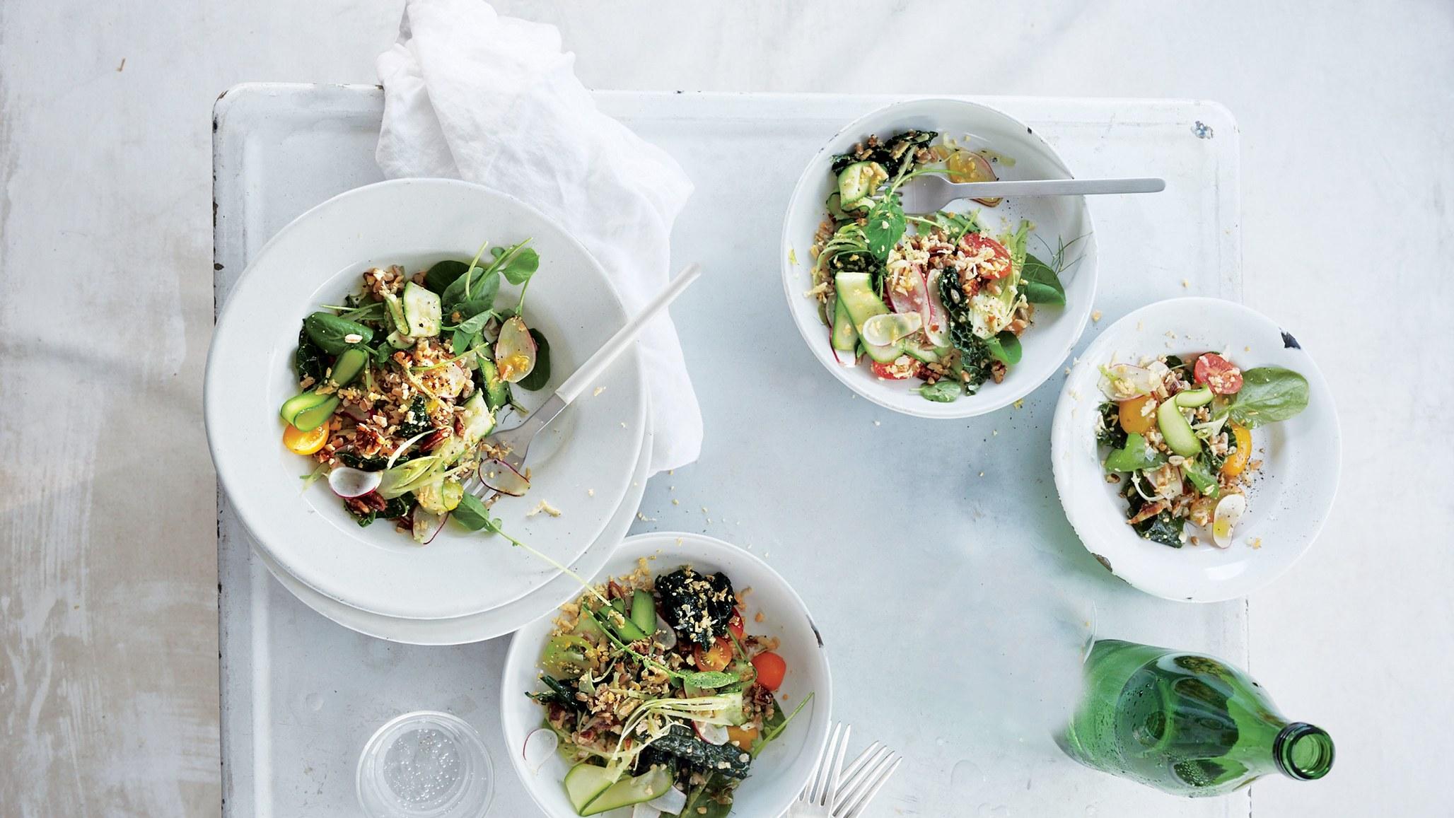 Favorite Picnic Recipes Crudités Salad with Farro and Pecans