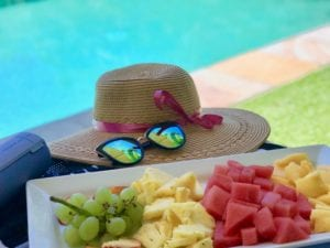 pool party fruit plate food