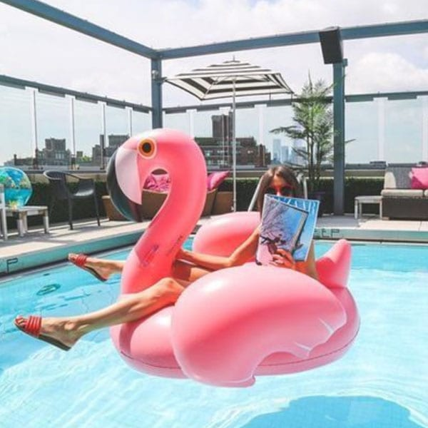 pool party ideas pink flamingo float
