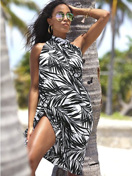 pool party summer print dress