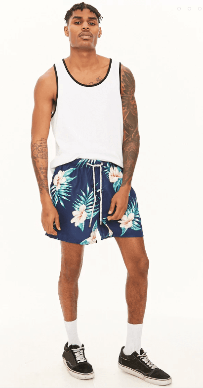 pool party floral swim trunks