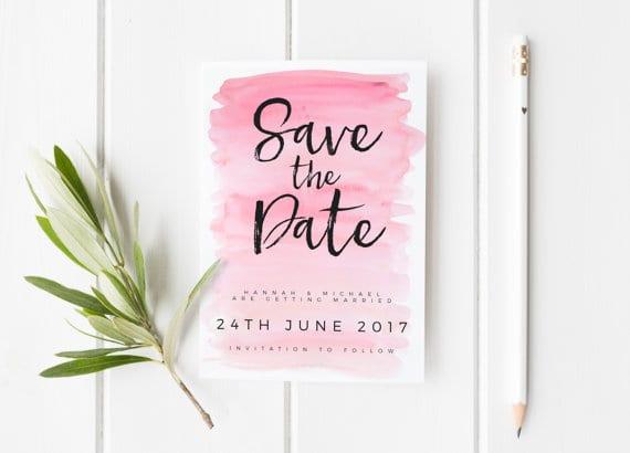 save the date - Sarah Burns Prints pink water color