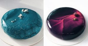 Best Viral Food Artists Marble Mirrored Cakes