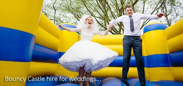 Colored wedding bouncy castles are also available
