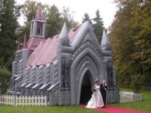 Have a fairy tale theme with this bouncy wedding house.