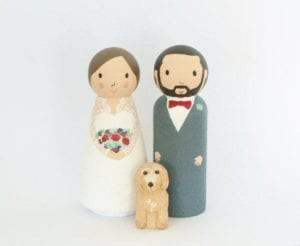 wedding cake topper with dog Peg Cake Toppers