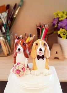 wedding cake topper with dog Basset Hound