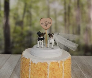 wedding cake topper with dog jack russell