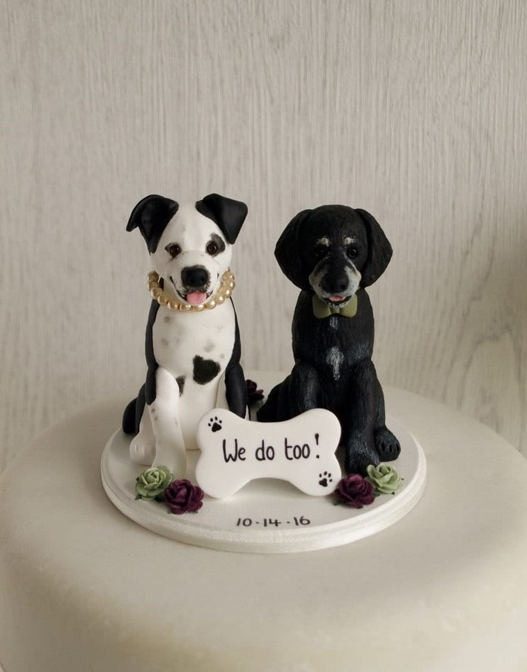 wedding cake topper with dog two dogs