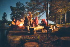 beach camping bonfire