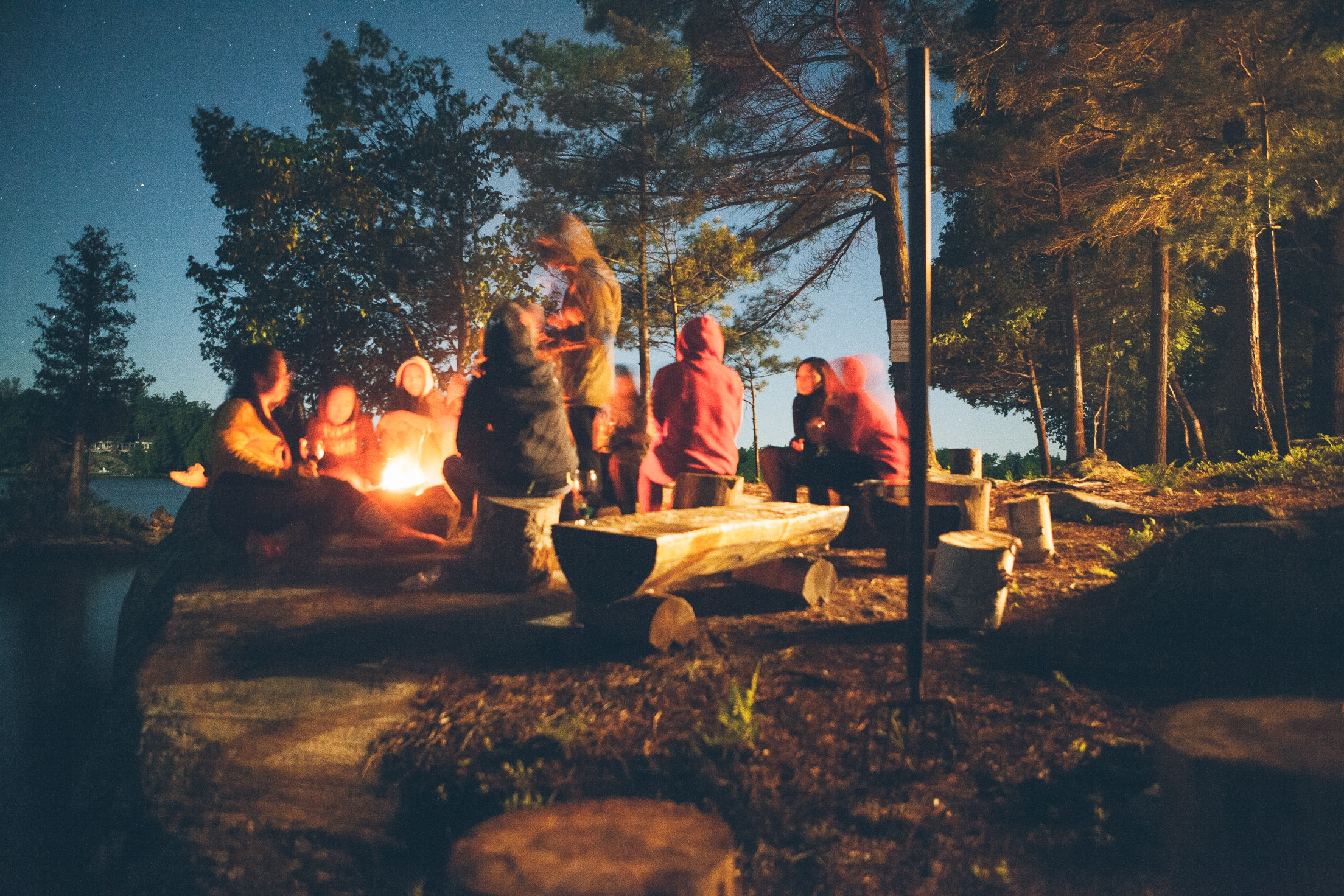 beach camping bonfire