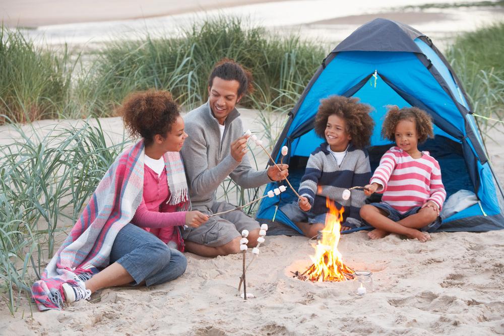 beach camping family smores