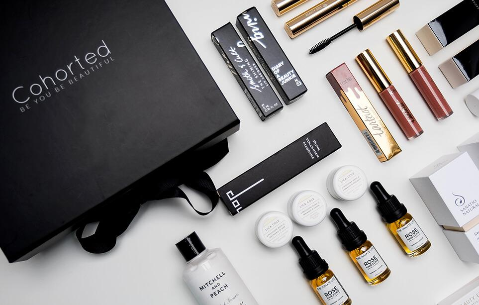 One of Cohorted's luxury beauty subscription boxes