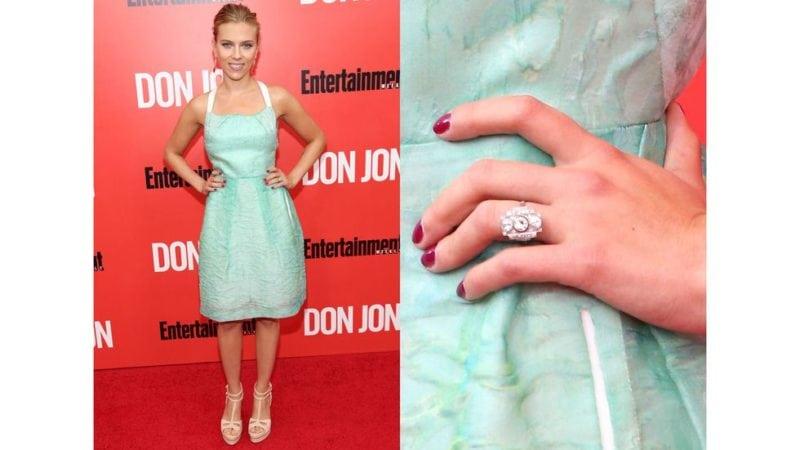 """Celebrity Engagement Rings: Scarlett Johansson """"width ="""" 800 """"height ="""" 450"""