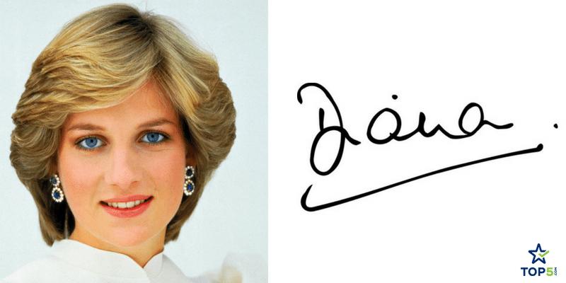celebrity autographs diana princess of whales