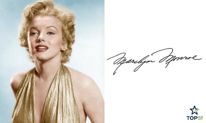 celebrity autographs Marilyn Monroe