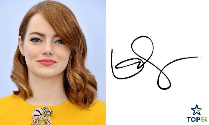 celebrity autographs Emma Stone