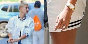 celebrity engagement rings: Hailey Baldwin