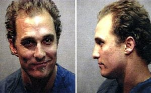 celebrity mug shots Matthew McConaughey