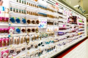 drugstore beauty products aisle