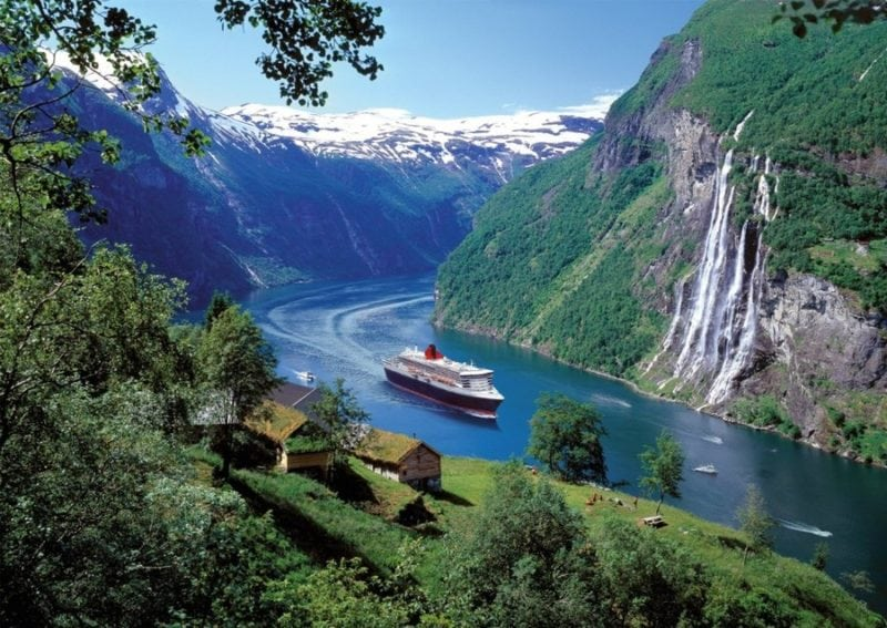 european cruises ship sailing through fjords