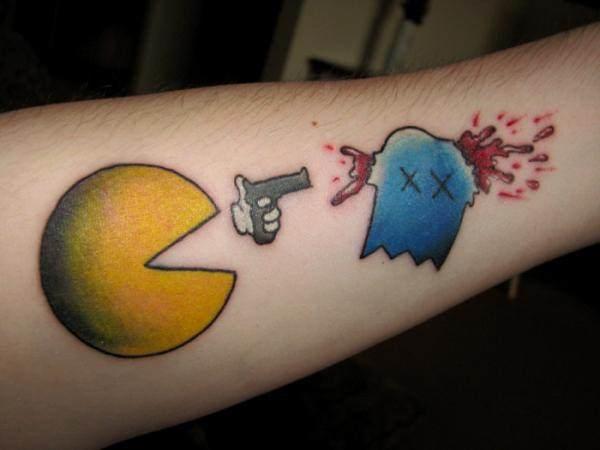 funny tattoos pacman