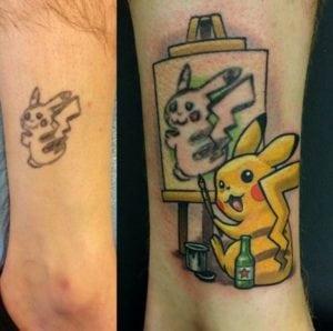 funny tattoos pikachu