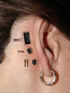 funny tattoos - ear usb ports