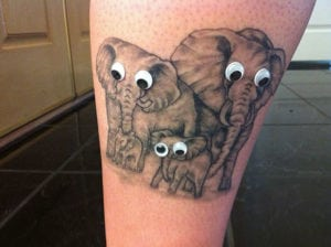 funny tattoos - googly eyed elephants