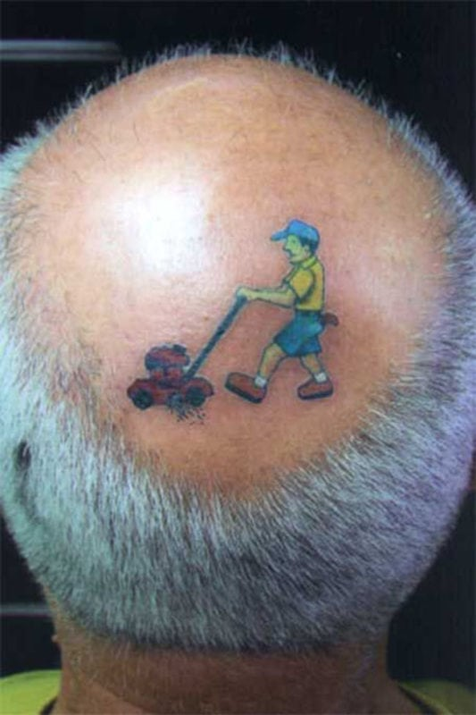 funny tattoos - lawn mower