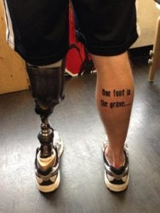 funny tattoos - one foot in the grave