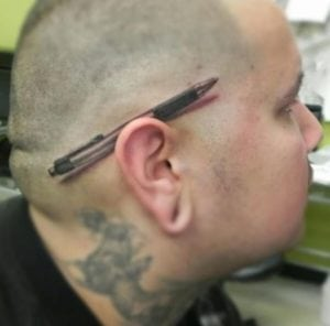 funny tattoos - pen behind the ear